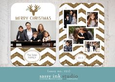 Gold Sparkle Chevron Christmas Photo Card by SassyInkStudio