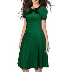 SYLVIEY Women's Scoop Neck Elegant Bow Vintage 1940's Casual Evening... ❤ liked on Polyvore featuring dresses, scoop neckline dress, green vintage dress, green dress, green cocktail dress and bow dress