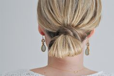 This easy updo is great for a quick, but interesting, style. As long as your hair is near your collarbone or longer, you should be able to recreate this simple hairstyle!   It may be easier with st...