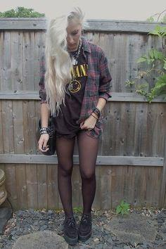 plaid shirt, nirvana tshirt, creepers, shorts, stockings