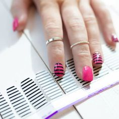 Add black stripes to your nails in just a few easy steps with Between the Lines! Wear these clear nail art strips alone on bare nails or layer over your favorite nail color for a whole new look. Get quick stylish nails in minutes with Color Streets fall nail inspiration that fit for any style or occasion. #fallnaildesign #colorstreetnails #prettynailartdesign