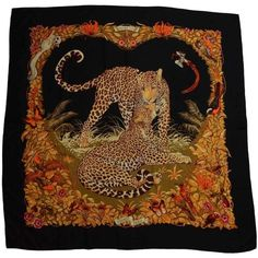 Preowned Hermes Black Silk And Cashmere Jungle Love 140cm Shawl Scarf ($1,050) ❤ liked on Polyvore featuring accessories, scarves, black, hermès, cashmere scarves, cashmere silk scarves, hermes shawl and cashmere shawl
