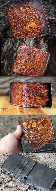 Handmade short leather wallet men carp lotus carved leather short wall   EverHandmade