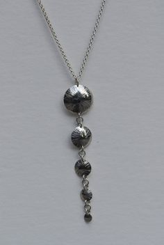 Chased dome long pendant by FirepanJewellery on Etsy, $254.00