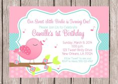 Resultado de imagen para flower and birds birthday invitations Bird Birthday Parties, Birthday Party Invitations, Baby Shower Invitations, 2nd Baby Showers, Bird Party, Business Card Psd, Pink Bird, Printable Invitations, Decoration