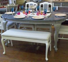 French dining room table, chairs and bench set refinished in Annie Sloan French Linen and Old White Chalk Paint. $550