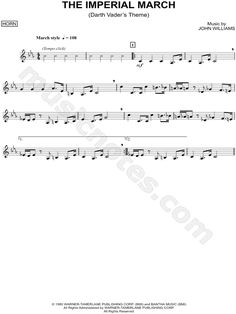 Print and download The Imperial March - Horn sheet music from Star Wars: The Empire Strikes Back arranged for Horn. Instrumental Solo in C Minor.