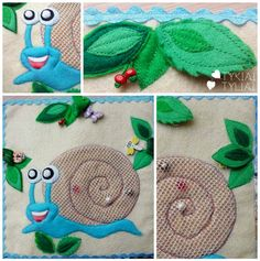 Quiet Book Page Ideas. Snail Playing Beads and Hiding Insects.