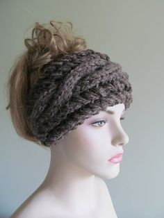Alpaca Cabled Headbands Earwarmers Brown Heather Fall Winter Accessories Headcovers Womens Girls Headwraps