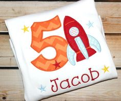 Personalized Birthday Shirt Rocket Stars Rocket Ship Number by PerryWinklesEmb