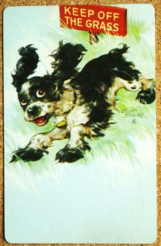 DOG - SPANIEL - BUTCH - KEEP OFF THE GRASS - SINGLE VINTAGE SWAP PLAYING CARD…