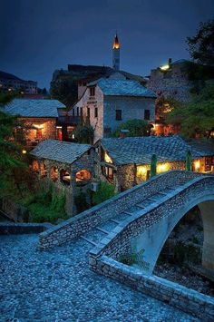 Ancient Village, Mostar, Bosnia and Herzegovina…….A SHORT CLIMB OVER THIS BRIDGE, TURN TO YOUR LEFT AND YOU'RE HOME FOR THE NIGHT……..ccp