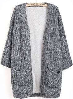 Grey Long Sleeve Pockets Knit Cardigan - Sheinside.com