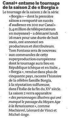 """""""Canal+ entame le tournage de la saison 2 de Borgia"""" (Le Monde Télévisions)"""