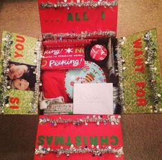Christmas care package that says, All I want for Christmas is you. A big list of monthly and seasonal care package ideas for the entire year! Each month contains several creative holiday and seasonal care package themes. Diy Christmas Gifts For Boyfriend, Cute Boyfriend Gifts, Boyfriend Gift Basket, Bf Gifts, Christmas Gift Box, Christmas Crafts, Merry Christmas, Christmas Packages, Boyfriend Ideas