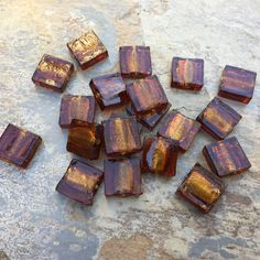 Square Brown Glass Beads, Root Beer Brown Beads, Large Brown Beads, 15mm, 20 beads per package by marketplacebeads on Etsy