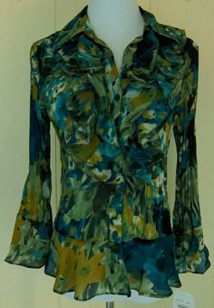 Sunny Leigh Pleated Ruffle Button Floral Green Blue Top M New/WTag #SunnyLeigh #Blouse