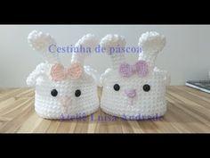 Crochet Bowl, Easter Crochet, Crochet Yarn, Bunny Crafts, Easter Crafts, Yarn Crafts, Diy And Crafts, Hello Kitty Purse, Crochet Storage