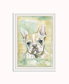 Painting by mallalu Custom Your Pet Portrait Watercolor Painting from Picture 5x7 8x10 8x11 11x16 Dog Animal Photo Portrait Picture Painting French Bulldog