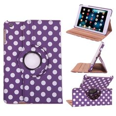 Polka-dot leather 360 rotate smart case Polka-dot leather 360 rotate smart case  Listing is colorful Polka-dot 360 rotating smart leather protective case for iPad mini 1/2/3/4 with sleep/wake features.  Brand new case with perfect shock defender front and back cover  Order will ship within 24 hours  Thanks for looking. Accessories