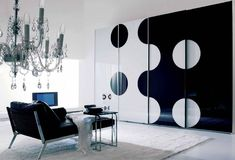 Sleek Wardrobe Designs for Contemporary Interior: Marvelous Neutral Color Combination And White Floor Modern Black White Wardrobe Design Lux. Black And White Sofa, Black And White Living Room, Black And White Interior, White Interior Design, Contemporary Interior Design, Home Interior, Modern Design, White Rug, Purple Interior