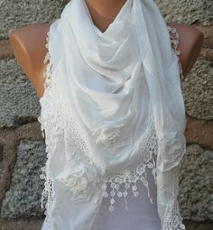Creamy White Scarf  Pure Cotton  Headband Necklace by fatwoman, $23.00