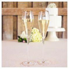 2ct Monogram Gold Rim Champagne Flutes - B, Clear-B