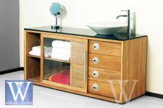 Teak bathroom vanity lewis, 4 drawers and sliding door