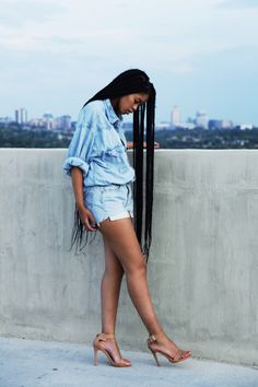 BGKI - the website to view fashionable & stylish black girls shopBGKI today Black Girl Magic, Black Girls, Black Women, Jeans Outfit For Work, Denim Outfit, Twist Box Braids, Twists, Summer Outfits, Cute Outfits