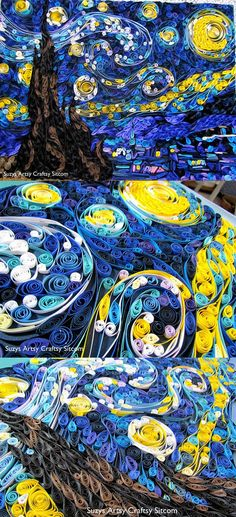Quilled Starry Night/Suzys Artsy Craftsy Sitcom #quilling #paper crafts