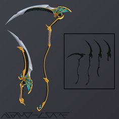 Trickweapon Anubis scythe by Nano-Core on DeviantArt Anime Weapons, Sci Fi Weapons, Weapon Concept Art, Anubis, Fantasy Sword, Fantasy Weapons, Fantasy Art, Egyptian Weapons, Desenho Do Power Rangers