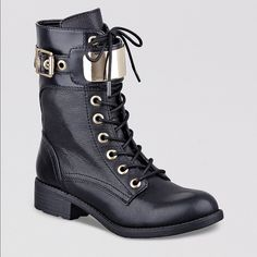 """Guess Ludlie Combat Boot Black Leather worn under 10 times. no obvious signs of wear. can include box upon request. NO TRADES.  """"Gleaming gold-tone hardware brings tough-luxe appeal to these biker-chic combat boots. Pair them with faux-leather leggings and a denim jacket for most-wanted moto style that's perfect for the season. Combat boot. Rounded toe. Lace up. Gold-tone plated ankle strap with buckle detail Zipper closure at inner ankle 1 ¼"""" heel 6 ½"""" shaft Material: Leather"""" Guess Shoes…"""