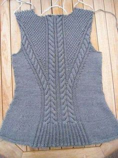 ravelry project gallery for debardeur femme 427 480 pattern by phildar design team - PIPicStats Cable Knitting, Sweater Knitting Patterns, Knitting Stitches, Knitting Designs, Knit Patterns, Free Knitting, Mode Vintage, Knitting For Beginners, Knit Fashion
