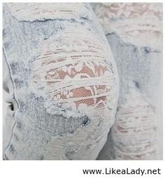 Lace under hole in jeans