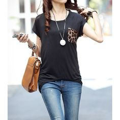 Stylish Scoop Neck Short Sleeve Leopard Print Loose-Fitting Polyester T-Shirt For Women
