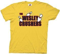 The Big Bang Theory Wesley Crushers Bowling Gold Adult T-shirt Tee $18.95
