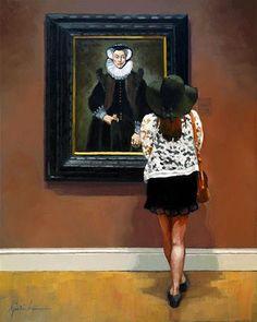 "Daily Paintworks - ""Under Ones Hat"" - Original Fine Art for Sale - © Karin Jurick"