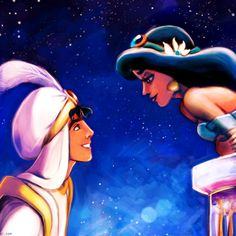 Jasmine and Aladdin. Probably one of my favorite Disney couples (: