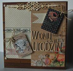 kartka urodzinowa Cardmaking, Scrapbook, Cover, Blog, Making Cards, Scrapbooks, Scrapbooking, Card Making, Guest Books