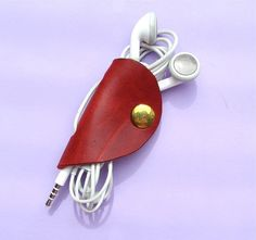Leather earbud / earphone / cable organizer handmade by  Rinarts