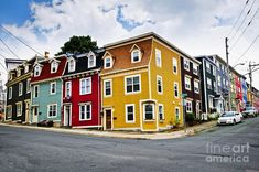 Colorful houses on street corner in St John s Newfoundland Canada Stock Photo Newfoundland Canada, Newfoundland And Labrador, Canada House, Home Exchange, Atlantic Canada, Vanishing Point, New Brunswick, City Streets, Life Is Beautiful