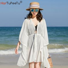 Coats For Women, Jackets For Women, Bikini Swimwear, Bikinis, Bikini Cover Up, Beauty Photos, Batwing Sleeve, Long Tops, All About Fashion