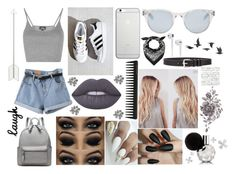 """""""My life"""" by madi-quartermaine ❤ liked on Polyvore featuring Topshop, adidas, Lime Crime, GHD, Native Union, Sun Buddies, Marc Jacobs, Tattify, IRO and Jayson Home"""