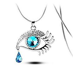 Angel's Tears Gold Plated Eye Shape Austrian Crystal Pendant Necklace for Womens in Fashion Jewelry Multi color Crystals flower Stud Earrings Pendant Necklace, add a pretty touch with these charming White Enamel & Multi-color Swarovski Crystals Flower Stud Earrings and Pendant Necklace Set.   #amazon #Amber Drop Earrings #color #color crystals #color crystals flower #crystals #crystals flower #crystals flower stud #design of gold bracelet for female #Earrings #earrings pen