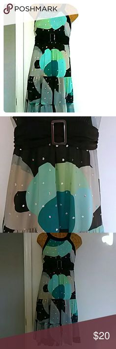 SALE.. NWOT Limited too dress Gorgeous rhinestone accented! Ties in back. Limited Too Dresses Midi