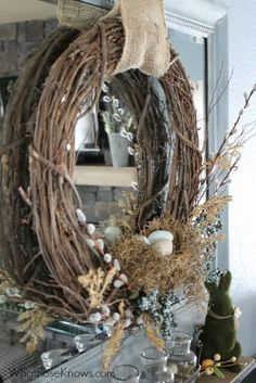 Organic Easter Wreath with Burlap Accent