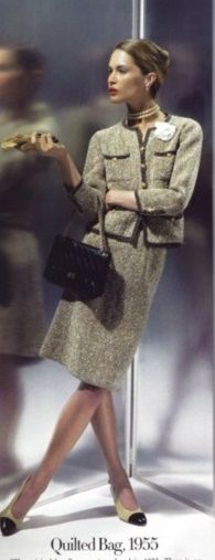 1955 - Chanel suit & quilted bag - Photo by Karl Lagerfeld for HarpersBazaar 2006