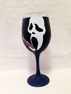 Scream Inspired Hand Painted Wine Glass. by AWhimsicalHoot on Etsy