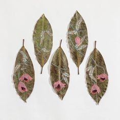 hillary waters fayle stitches + embroiders leaves with botanical patterns