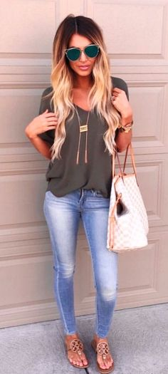 #summer #outfits Grey Tee + Bleached Skinny Jeans + Gingham Tote Bag